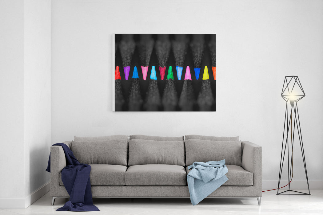 Black, Colored Pencils, On Black Background, Shallow Depth Of Field Canvas Wall Art Print