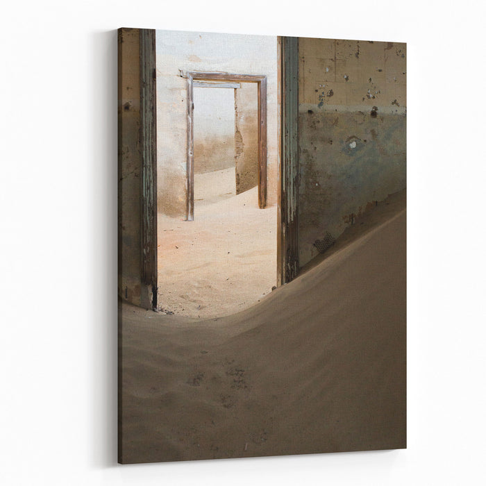 Abandoned Building Being Taken Over By Encroaching Sand, Kolmanskop Ghost Town, Namib Desert Canvas Wall Art Print
