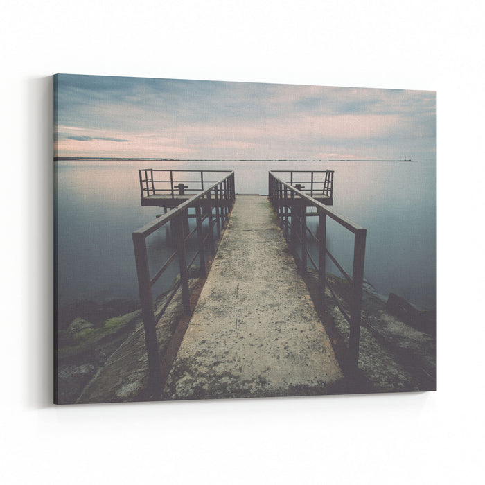 Old Bridge With Rusty Metal Rails Near Sea Port Vintage Photography Effect Canvas Wall Art Print