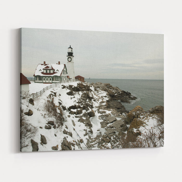A Large Wreath Is Hung On Portland Head Lighthouse In Maine To Celebrate The Holiday Season Portland Light Is The Oldest Beacon In Maine Canvas Wall Art Print