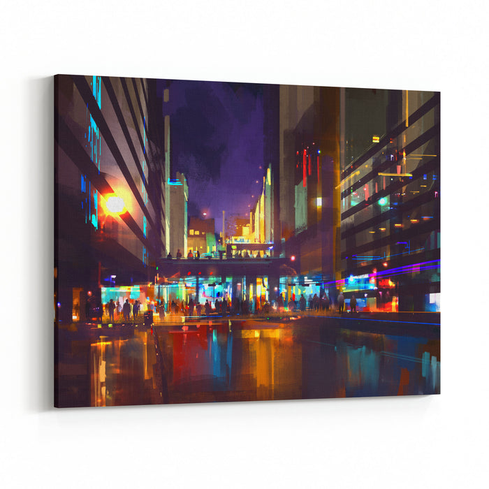Crowds Of People At A Busy Crossing In The Night With Neon Lights,digital Painting Canvas Wall Art Print
