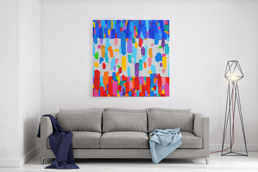 Texture, Background And Colorful Image Of An Original Abstract Painting On Canvas Canvas Wall Art Print