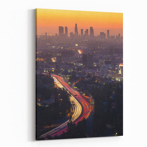 Downtown Los Angeles Skyline At Twilight CA Canvas Wall Art Print