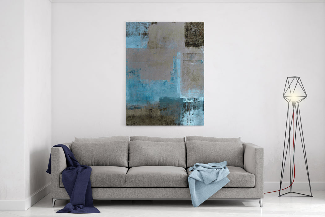 Teal And Brown Abstract Art Painting Canvas Wall Art Print