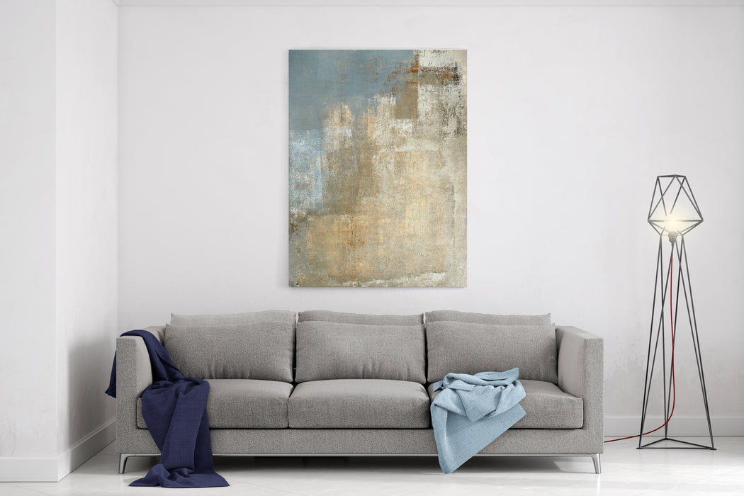 Grey And Beige Abstract Art Painting Canvas Wall Art Print