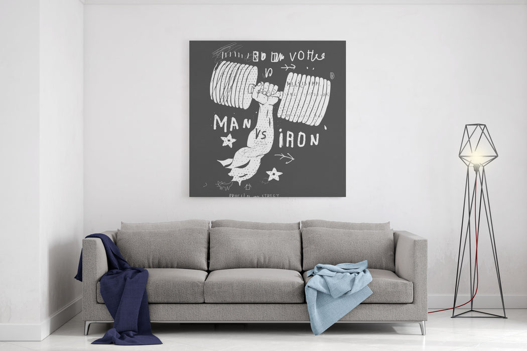 Image Of Muscular Arms In Which The Dumbbell Canvas Wall Art Print