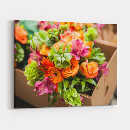 Gerbera, Tulips And Mix Of Summer Flowers Bouquet For The Wedding In The Florida Canvas Wall Art Print
