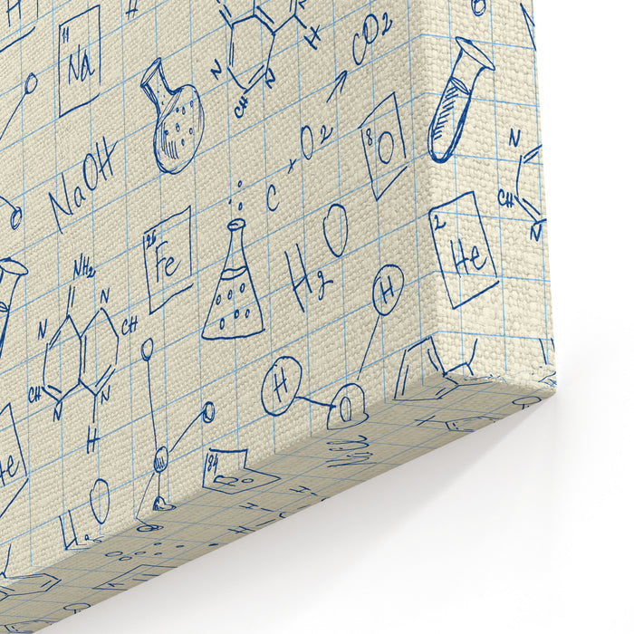 Chemistry Doodles Seamless Pattern Canvas Wall Art Print
