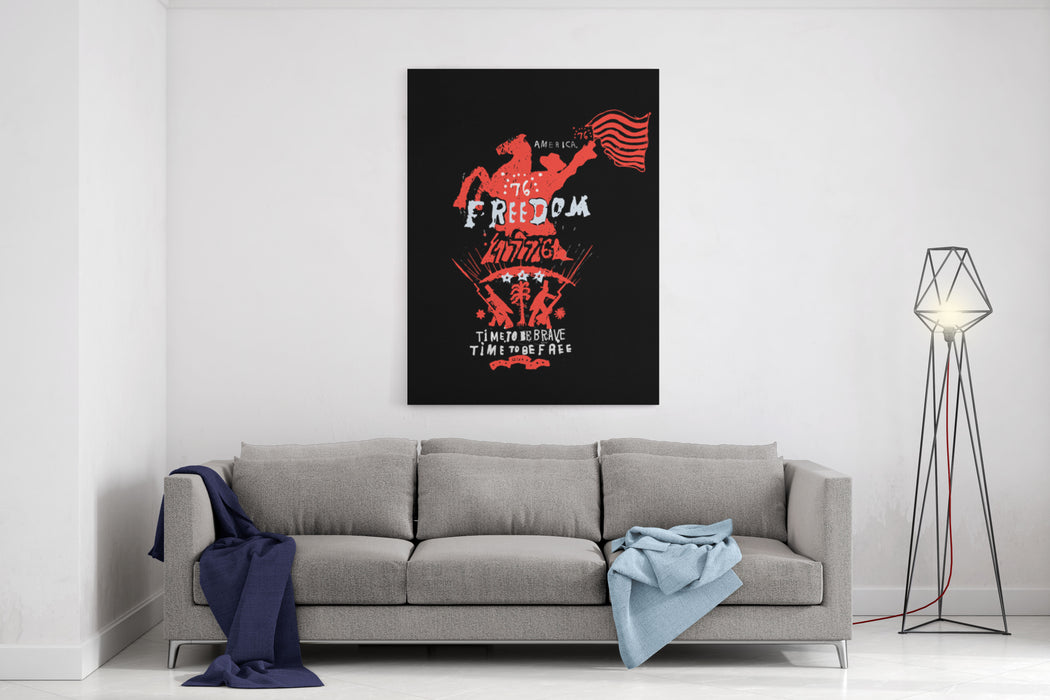 Symbolic Image Of A Rider Who Holds The American Flag Canvas Wall Art Print