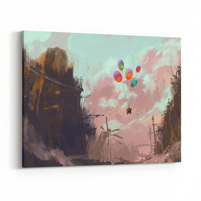 Ancient Car In A Sky With Balloons Over A Destroyed City,digital Painting Canvas Wall Art Print