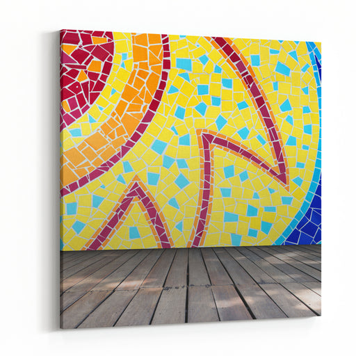Empty Room With Colorful Mosaic Tile Wall And Wooden Floor Interior Background, Template For Product Display Canvas Wall Art Print