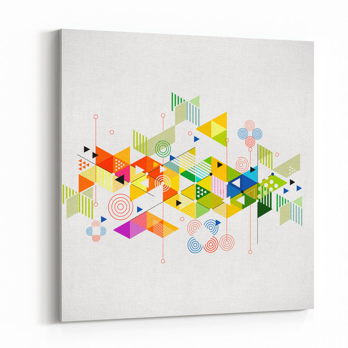 Abstract Colorful And Creative Geometric With A Variety Of Geometric Pattern Background, Vector Illustration Canvas Wall Art Print