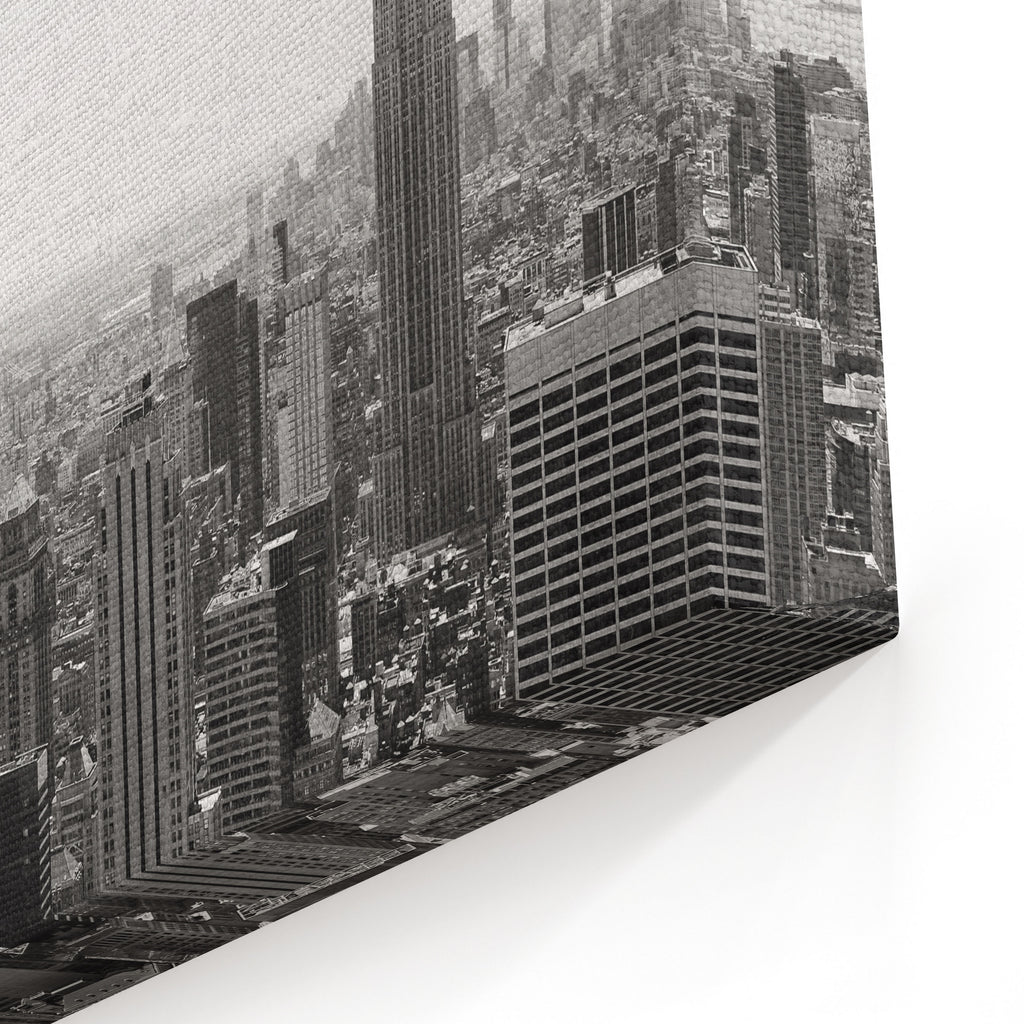 View Of Midtown Manhattan New York City Skyline In Black And White Canvas Wall Art Print