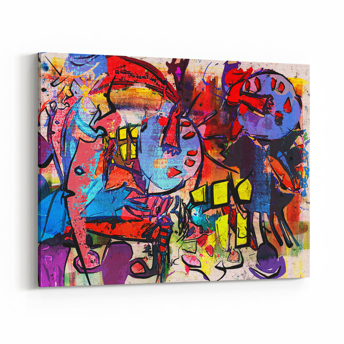 Abstract Painting, Digital Collage, Mixed Media, Colorful Background Canvas Wall Art Print