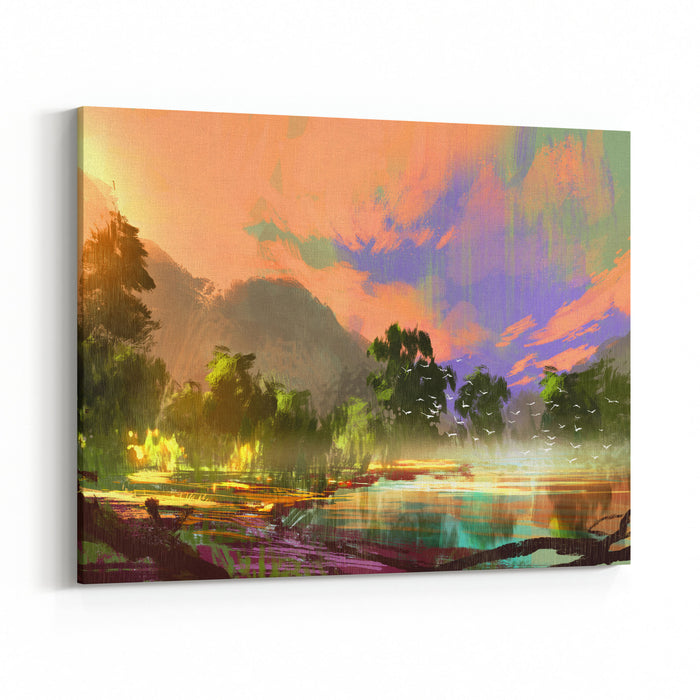 Morning Landscape With Fog And Warm Sky Over Riverbank ,digital Painting Canvas Wall Art Print