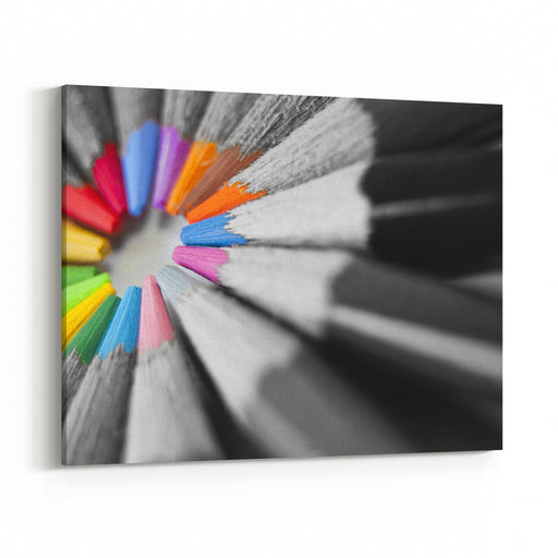 Close Up Of Many Colored Pencils Isolated Canvas Wall Art Print