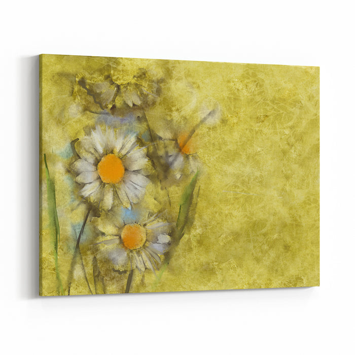 White Daisies On Grunge Paper Background Canvas Wall Art Print