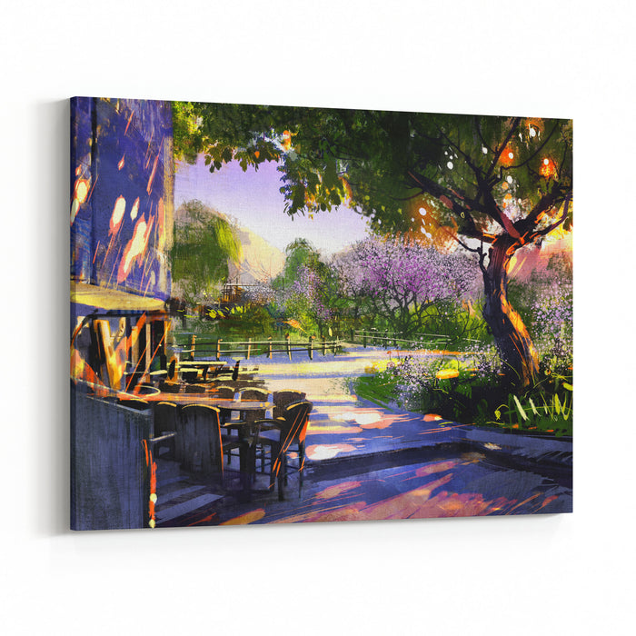 Digital Painting Showing Beautiful Sunny In The Park,illustration Canvas Wall Art Print