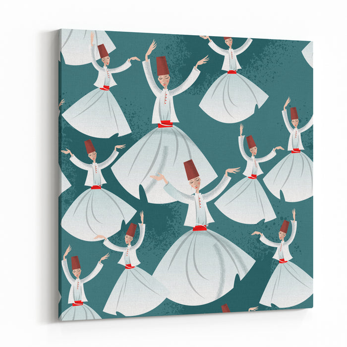 Whirling Dervishes Seamless Background Pattern Vector Illustration Canvas Wall Art Print