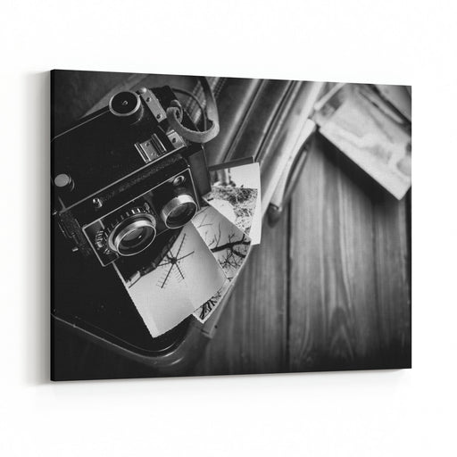 Old Camera And Old Photos Are On The Case Black And White Canvas Wall Art Print