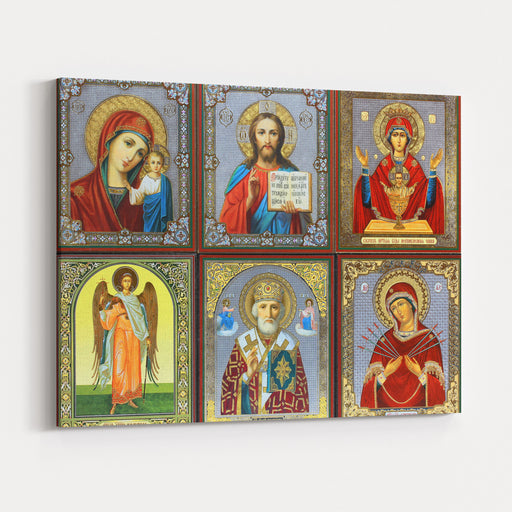 Ancient Orthodox Icon Canvas Wall Art Print