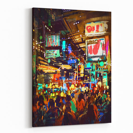 Colorful Painting Of Night Street,illustration Canvas Wall Art Print