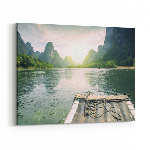 China Guilin Rafting Canvas Wall Art Print