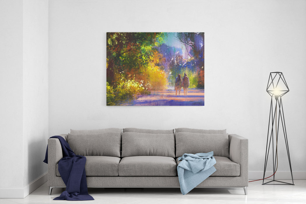 Couple Walking In Beautiful Place Illustration Digital Painting Outdoor Canvas Wall Art Print