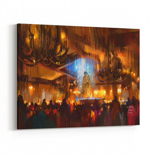 Crowd Of People Praying At Holy Night,digital Painting Canvas Wall Art Print