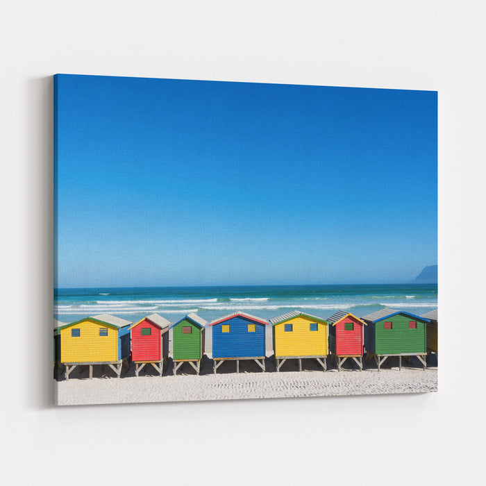 Colorful Bathhouses At Muizenberg, Cape Town, South Africa, Standing In A Row Canvas Wall Art Print