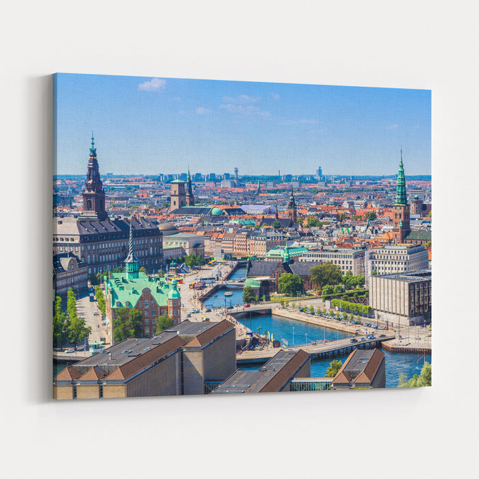 Copenhagen City, Denmark, Scandinavia Beautiful Summer Day Canvas Wall Art Print