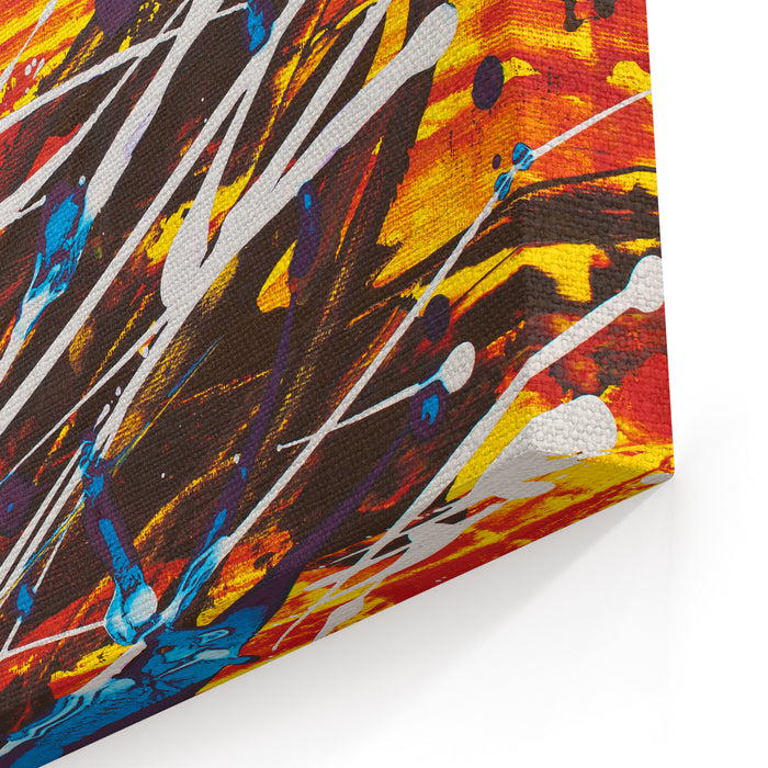 Colorful White Red Yellow Orange Blue Black Abstract Vivid Expressionistpainting Canvas Wall Art Print