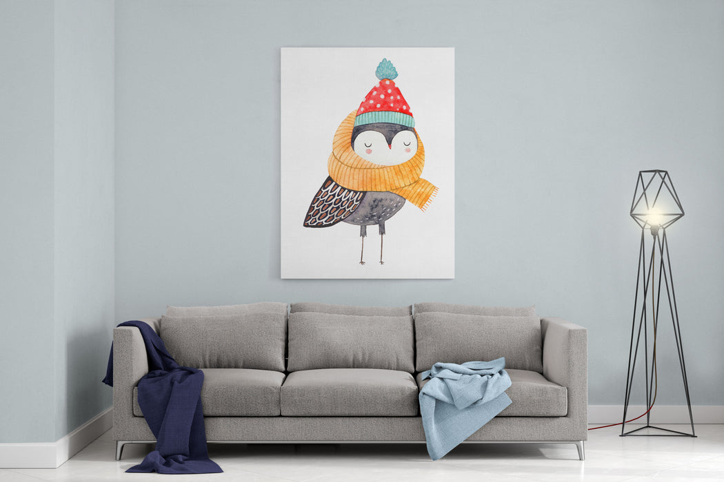 Owl In A Scarf And Hat  Watercolor Drawing Canvas Wall Art Print