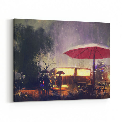 Outdoor Shop In The Park At Rainy Night,digital Painting Canvas Wall Art Print