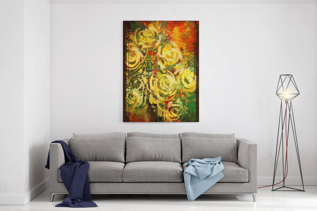 Abstract Flowers Vintage Style,digital Painting Canvas Wall Art Print