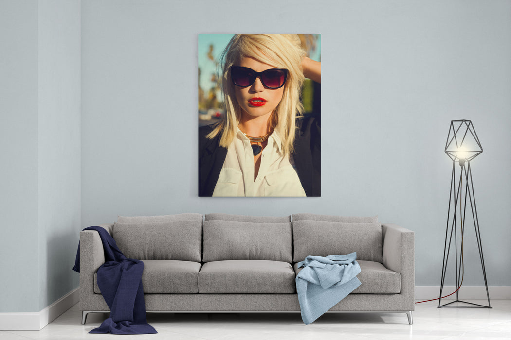Beautiful Blonde Young Woman Wearing Sunglasses, Black Cardigan, Red Lips Fashion Photo Canvas Wall Art Print