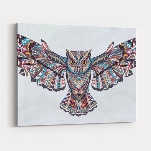Patterned Owl On The Grunge Background African  Indian  Totem  Tattoo Design It May Be Used For Design Of A Tshirt, Bag, Postcard, A Poster And So On Canvas Wall Art Print