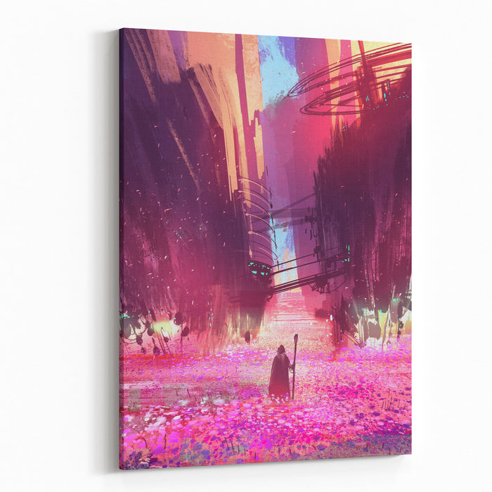 Traveler Standing In Pink Flowers Field,digital Painting,illustration Canvas Wall Art Print