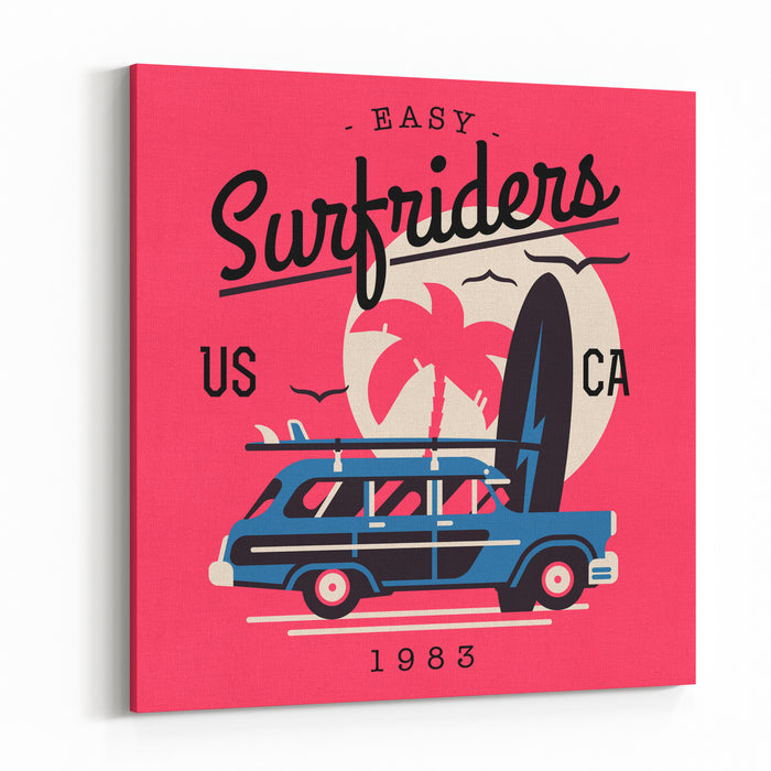 Vector Tshirt Printable Or Wall Art Graphics Design On California Easy Surf Riders With Typography, Palm Silhouette, Flying Seagulls And Old Retro Woodie Wagon Surf Car With Surfboards Canvas Wall Art Print