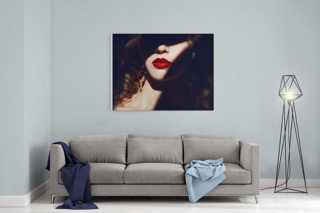 Closeup Of The Face Belong To Beautiful Young Sexy Blonde Girl With Curly Hair Pure Snow White Skin And Bright Makeup Red Lips, Red Lipstick, Long Earrings In Dark Shadows Of Palm Leaves Canvas Wall Art Print