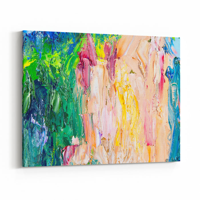 Fragment Of My Painting Oil On Canvas Abstract Painted Background Focus On Brushstrokes Canvas Wall Art Print