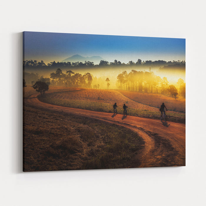Beautiful Sunset Of Travel Place In Thailand, Mon Jong, Om Koi, Chiang Mai Canvas Wall Art Print
