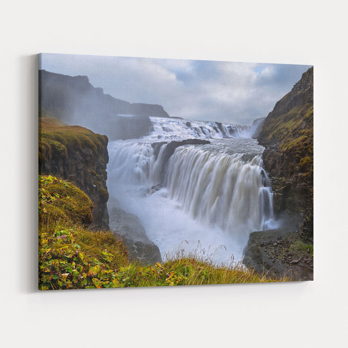 Gullfoss Waterfall Located In The Canyon Of Hvita River In Southwest Iceland Canvas Wall Art Print
