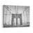 A Black And White Photo From Inside The Wires Of The Brooklyn Bridge, Looking On To New York City Canvas Wall Art Print