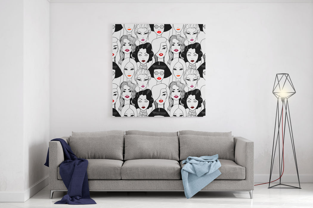 Crowd Of Women With Red Lips Seamless Pattern Canvas Wall Art Print