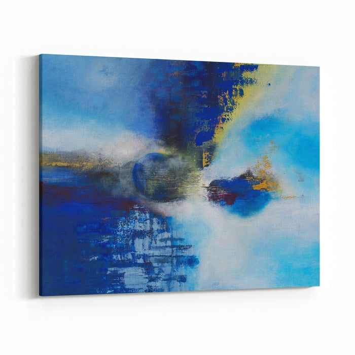 Abstract Original Painting On Canvas, Blue Ball, Main Color Blue, Can Be Used As Background Or Poster Canvas Wall Art Print