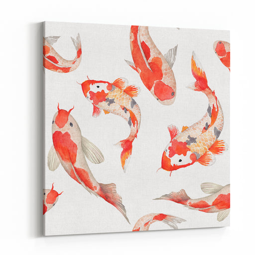 Watercolor Rainbow Carp Pattern Seamless Oriental Texture With Isolated Hand Drawn Fishes Underwater Wildlife Repeating Background In Vector Artistic Illustration Canvas Wall Art Print