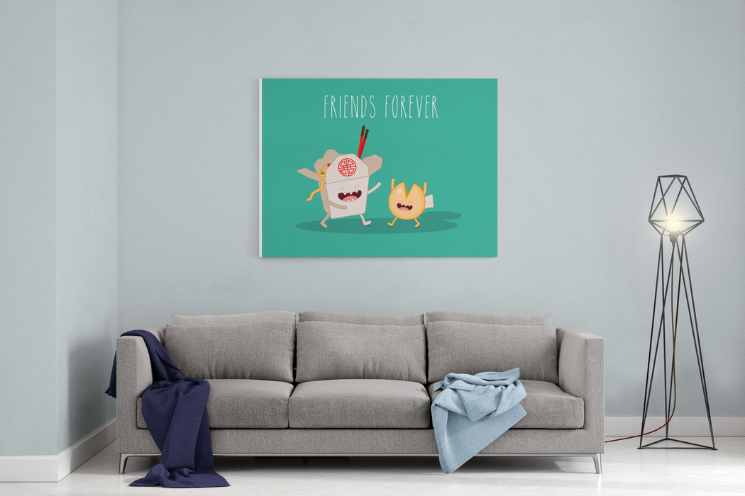 Chinese Food Box And Fortune Cookies Vector Cartoon Friends Forever Canvas Wall Art Print