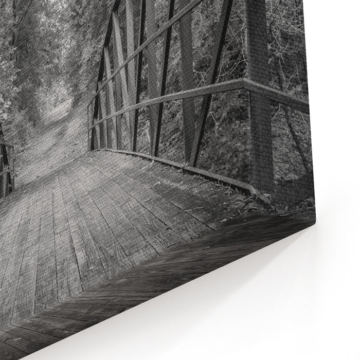 A Black And White Image Of A Wooden Bridge On A Nature Trail Canvas Wall Art Print