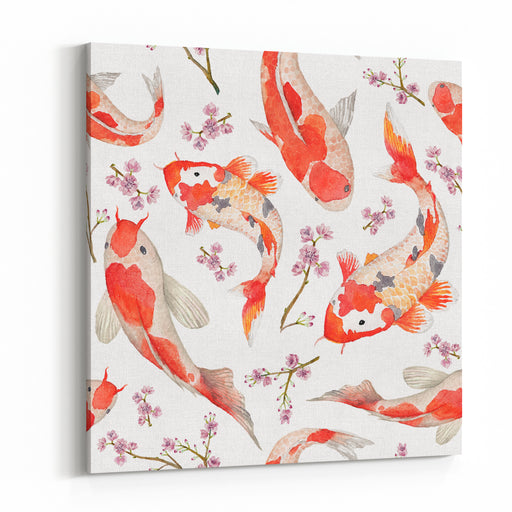 Watercolor Oriental Pattern With Rainbow Carps Seamless Oriental Texture With Isolated Hand Drawn Fishes And Blossom Cherry Asian Natural Background In Vector Canvas Wall Art Print